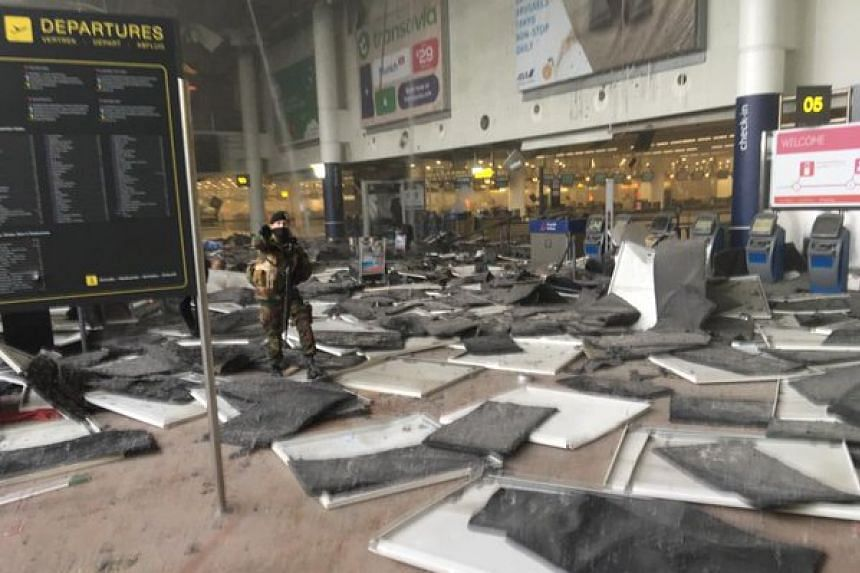 The interior of Brussels airport after the blasts.