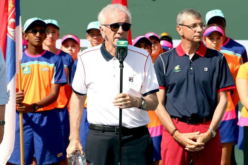 Raymond Moore addresses the audience at the BNP Paribas Open on March 20, 2016.