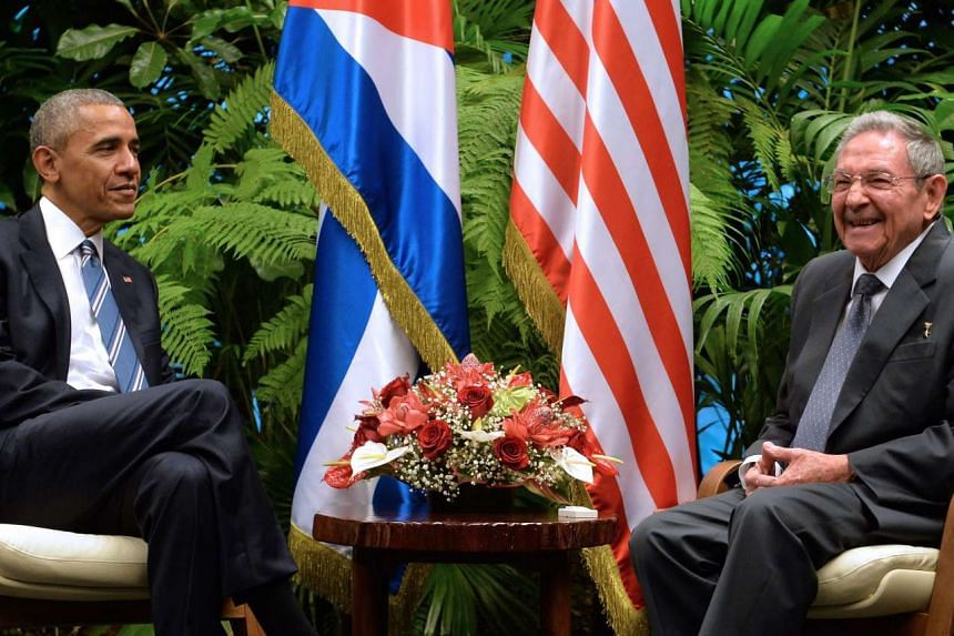 US President Barack Obama (left) and Cuban President Raul Castro meet at the Revolution Palace in Havana on Monday (March 21).