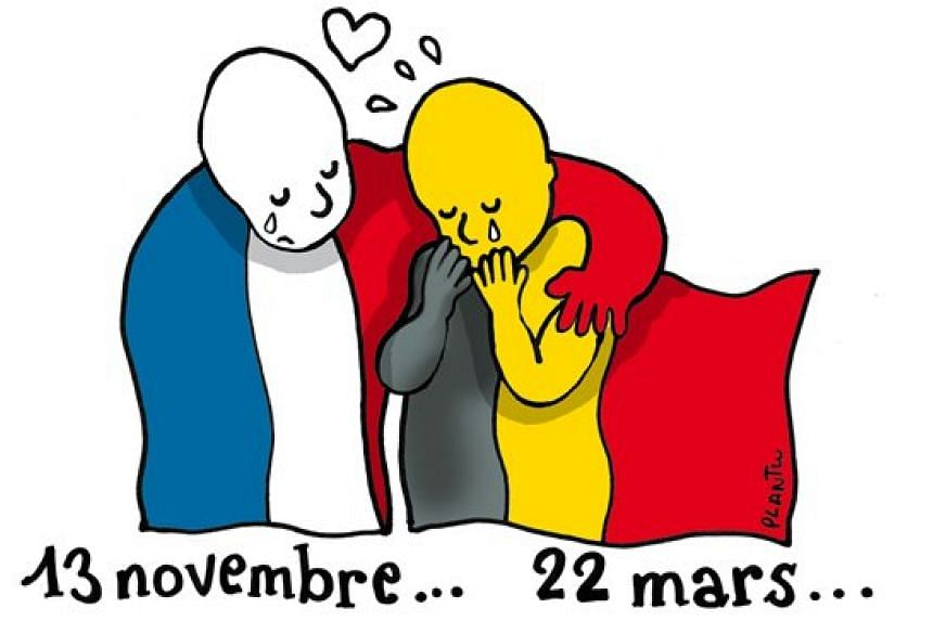 A drawing by acclaimed cartoonist Plantu of a figure dressed in French colours putting an arm around a crying Belgian flag.