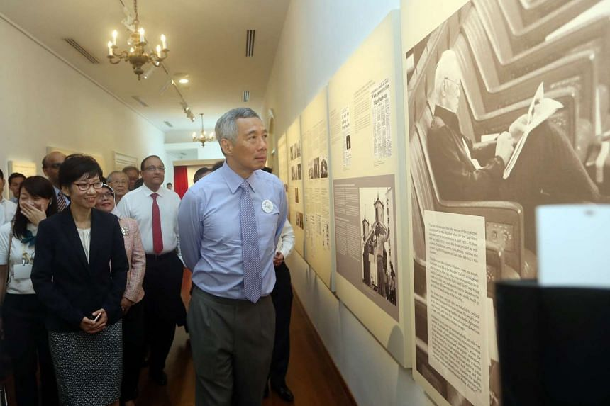 Prime Minister Lee Hsien Loong and Ms Grace Fu, Minister for Culture, Community and Youth, at the launch of The Parliament in Singapore History Exhibition on March 23, 2016.