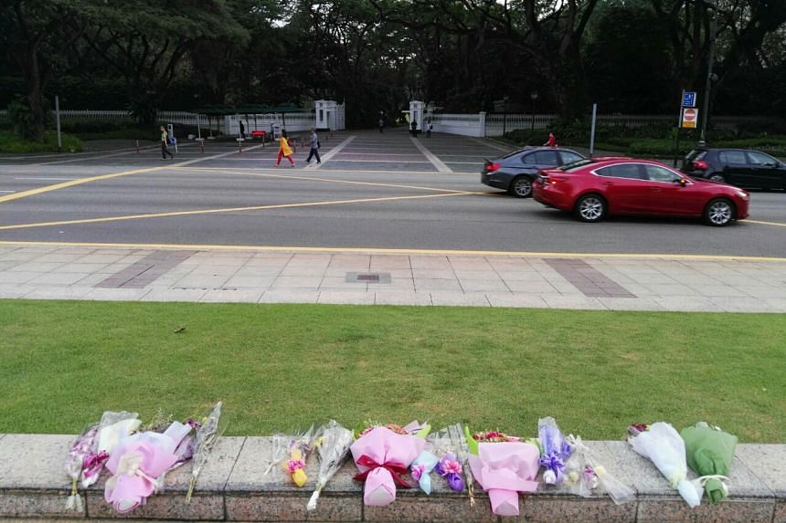 Bouquets outside the Istana on Wednesday (March 23) morning.
