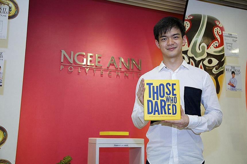 AllDealsAsia co-founder Wayne Goh's success story is featured in a commemorative book, Those Who Dared, about Ngee Ann Polytechnic alumni entrepreneurs.