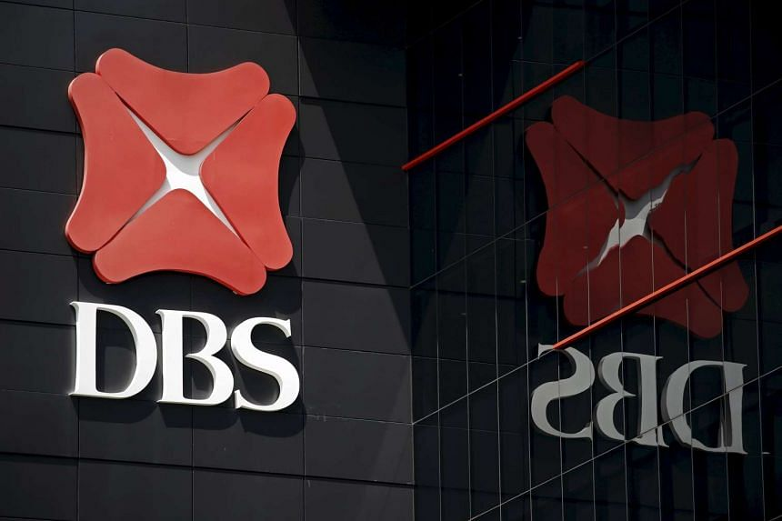 The DBS logo is pictured outside an office in Singapore.