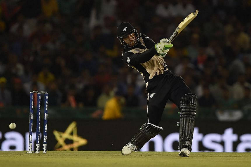 New Zealand's Martin Guptill plays a shot during the World T20 cricket match between New Zealand and Pakistan at the Punjab Cricket Stadium Association Stadium in Mohali on March 22, 2016.