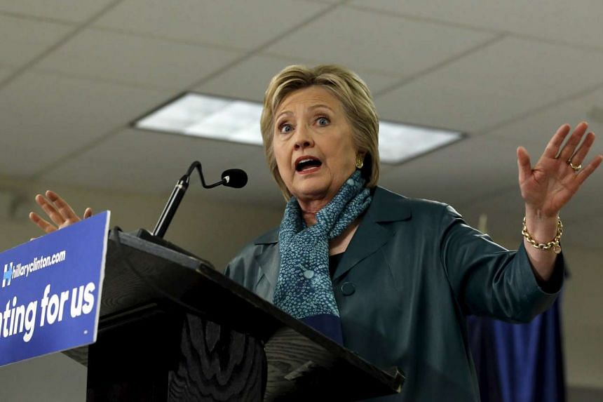 Hillary Clinton speaks during a labour organising event at Everett Union Hall in Everett, Washington.