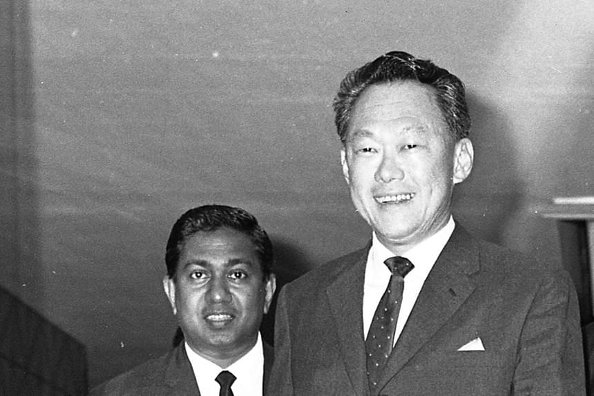 Mr Nathan with Prime Minister Lee in January 1971. Many members of the public who turned up to pay their last respects when the cortege of Mr Lee Kuan Yew passed through Bukit Merah last year were overcome with emotion.