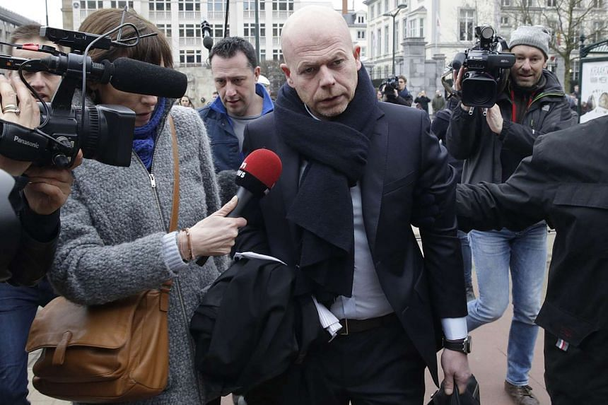 Sven Mary, lawyer of key suspect in the Paris terror attacks Salah Abdeslam, arrives to the Council Chamber of Brussels on March 24, 2016, during investigations into the Paris and Brussels terror attacks.