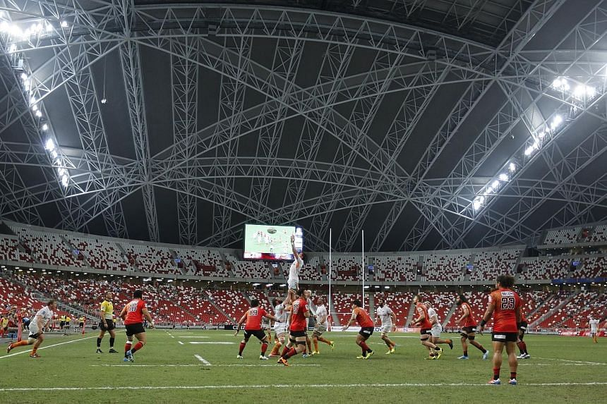The Sunwolves (in red) made their National Stadium debut against the Cheetahs in the Super Rugby clash on March 12. Despite the Singapore Rugby Union's invitation to play the Schools National A Division final as a curtain-raiser to the Sunwolves' nex