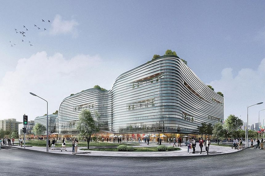 An artist's impression of the Nanjing International Water Hub, a new development by Sembcorp to promote innovative water technologies in China.