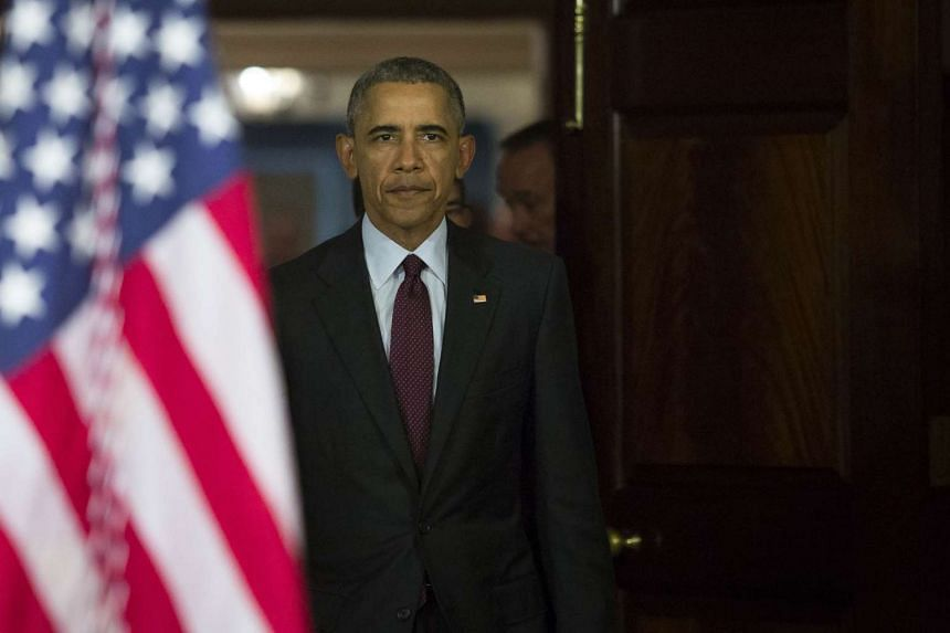 US President Barack Obama arrives to make a statement after meeting with his National Security Council in Washington, on Feb 25, 2016.
