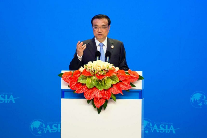 Chinese Premier Li Keqiang delivers a speech at the opening ceremony of the Boao Forum for Asia, on March 24, 2016.