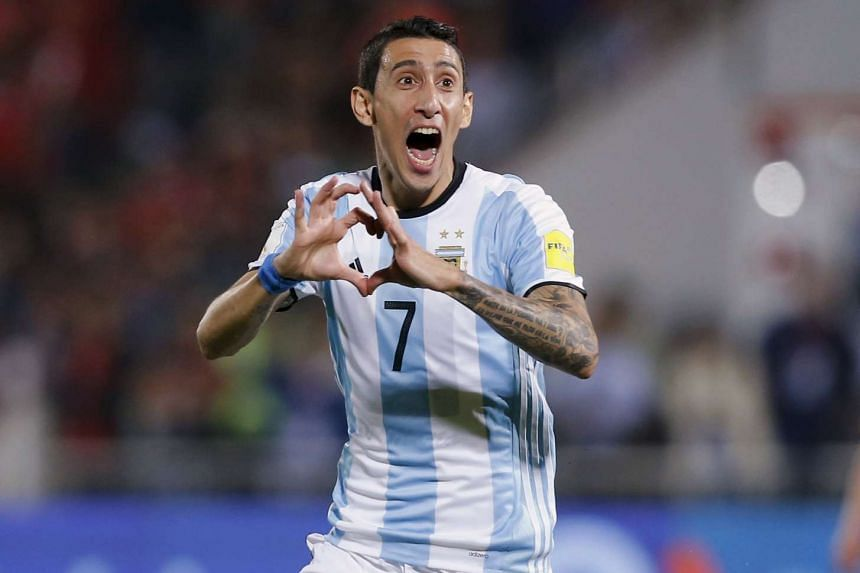 Argentina's Angel di Maria celebrating after scoring against Chile at the Nacional Stadium in Santiago.