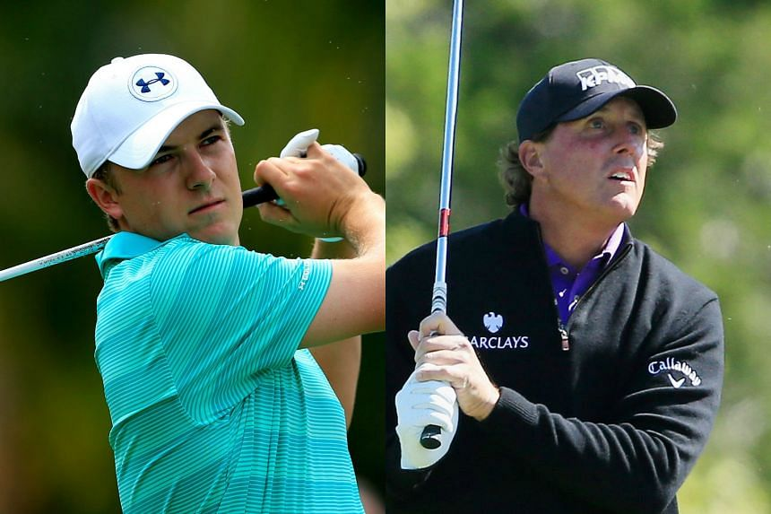 From left: Golfers Jordan Spieth and Phil Mickelson.
