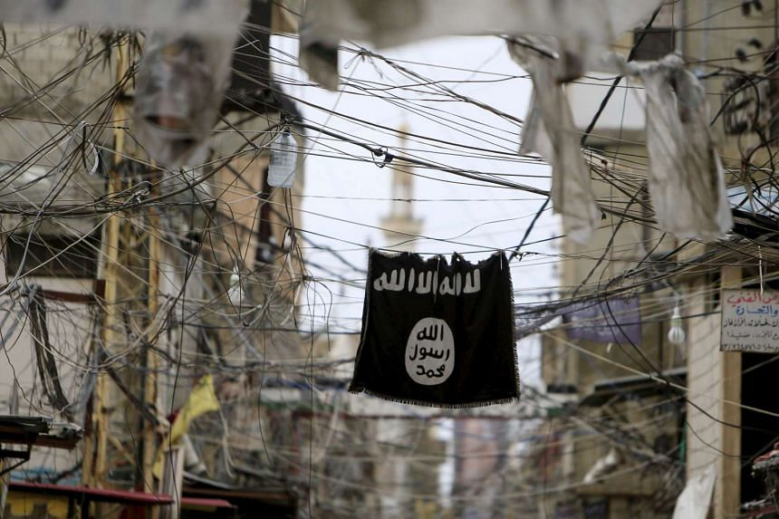 An Islamic State flag at a Palestinian refugee camp in Lebanon.