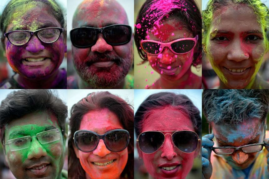 A combination of photographs showing participants posing for the camera during Holi Mela 2016.
