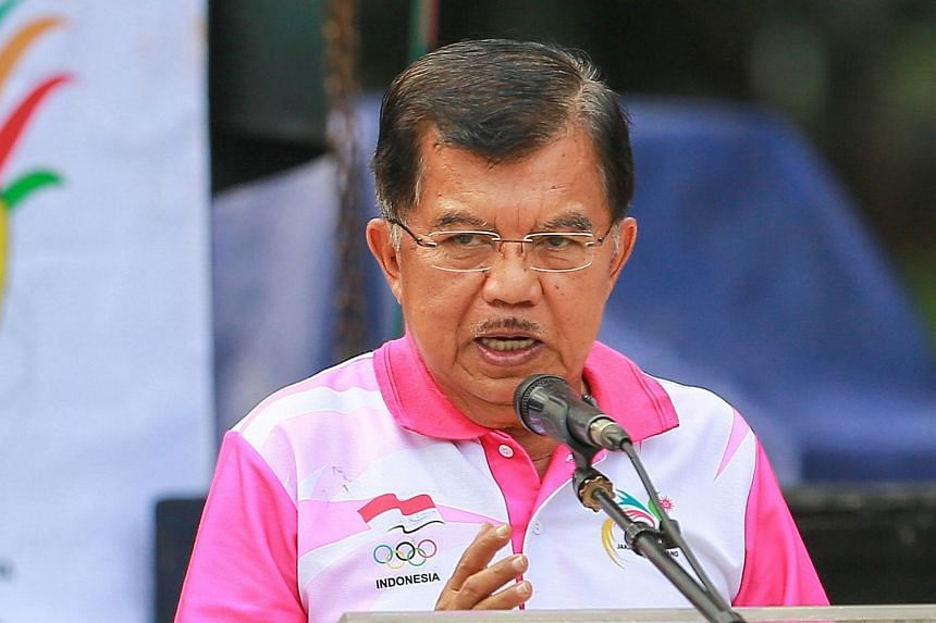 Indonesia's Vice President Jusuf Kalla delivers a speech during the launch ceremony for the 2018 Asian Games' mascot in Jakarta, on Dec 27, 2015.