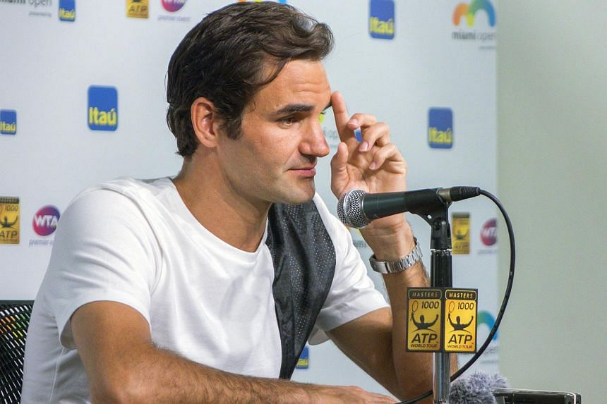 Roger Federer of Switzerland speaks to the media before playing at the Miami Open, in Florida, on March 24, 2016.