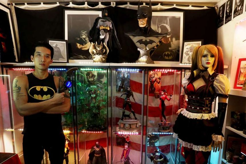Mr Kua Way Hao's entire collection has cost him more than $10,000 and he has set aside another $3,000 to buy merchandise from the new movie, including a 1.1m-tall statue of Batman.