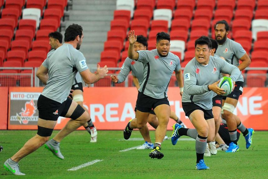 Sunwolves captain Shota Horie (with hand raised) during the team's captain''s run at the National Stadium on Friday.