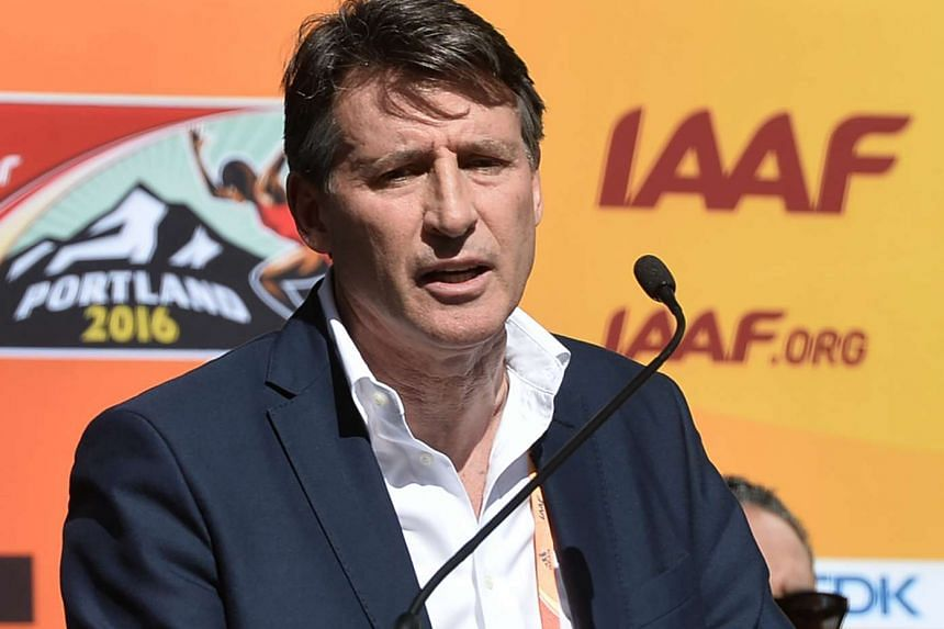 IAAF President Sebastian Coe speaks during a press conference for the IAAF World Indoor athletic championships in Portland, Oregon on March 17, 2016.