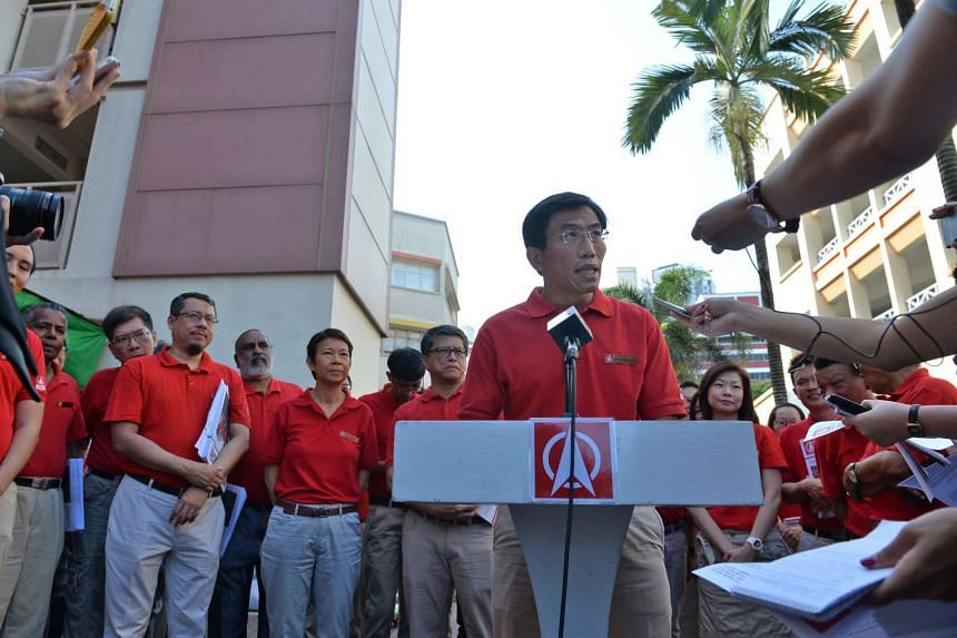 Singapore Democratic Party chief Chee Soon Juan announcing his intention to contest the by-election on March 20, 2016.