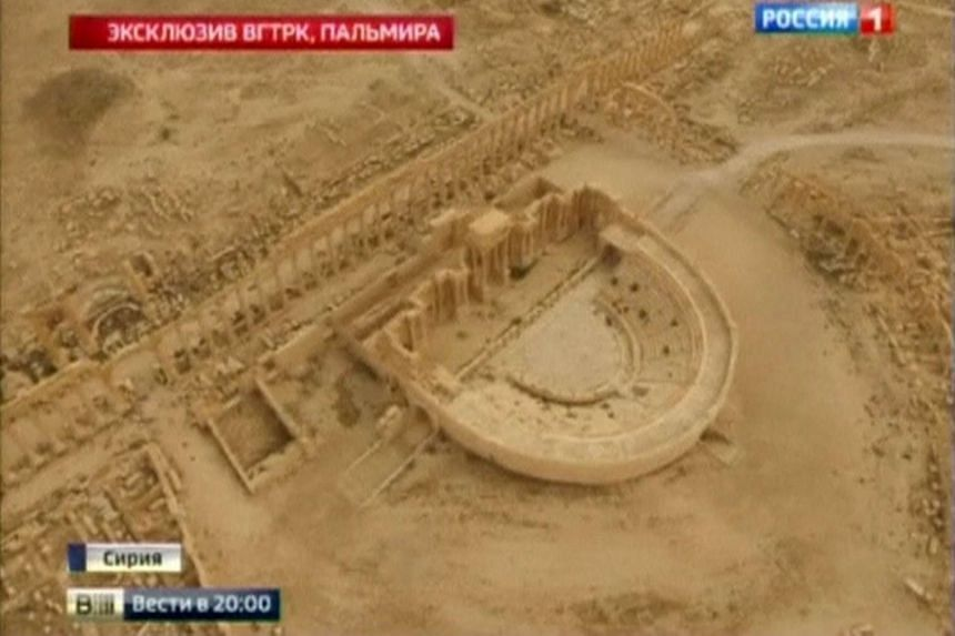 The Roman theatre in Palmyra is seen in this still image taken from video by RURTR.
