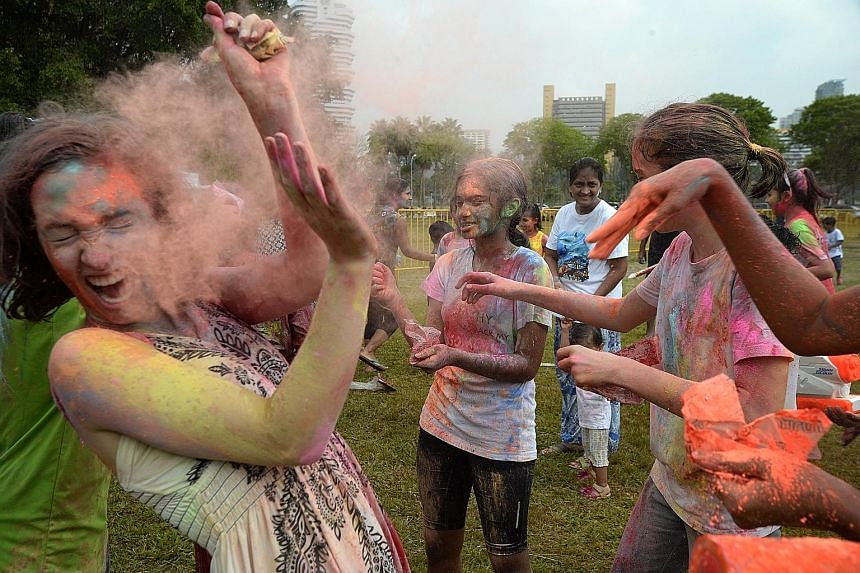 Nearly 400kg of coloured powder, made of cornflour, was imported from India for Holi Mela 2016, which is known as the Hindu festival of colours. Yesterday's event in Tanjong Rhu drew 3,000 participants.