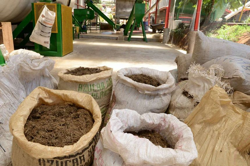 Animal compost at Del Valle slaughterhouse in Belen, Costa Rica, on March 11, 2016.