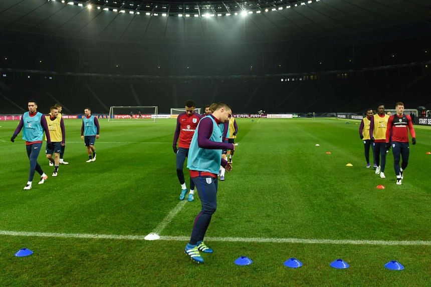 England's players attending a training session on March 25, 2016, in Berlin on the eve of the friendly football match against Germany.