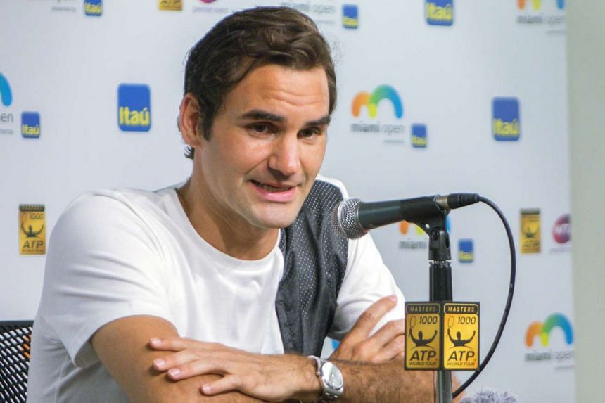 Federer speaks to the media before the Miami Open tennis tournament on March 24, 2016.