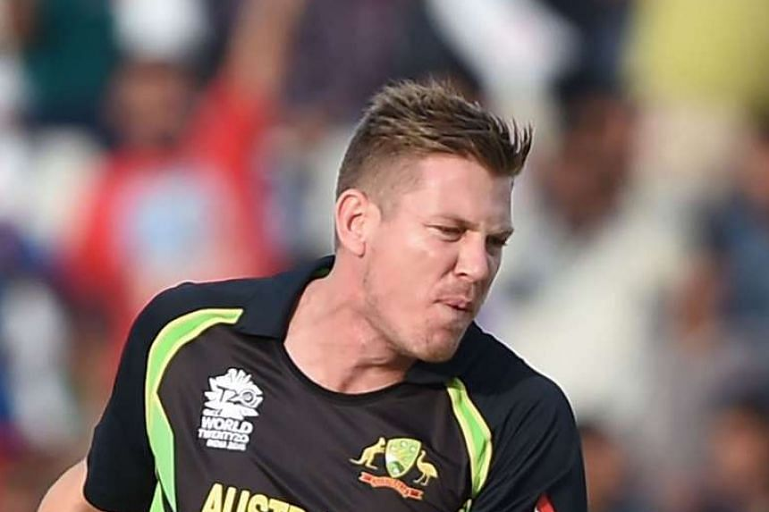 (Above) James Faulkner took 5-27, the best figures by an Australian bowler in a T20 international, to secure victory by 21 runs against Pakistan in the World T20 encounter at Mohali yesterday.