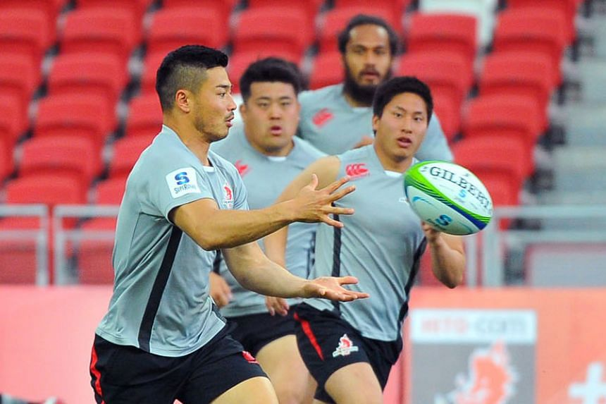 Sunwolves winger Akihito Yamada collecting the ball during the side's Captain's Run yesterday, ahead of the Bulls game. He scored a hat-trick of tries the last time the Japanese team played at the National Stadium two weeks ago.