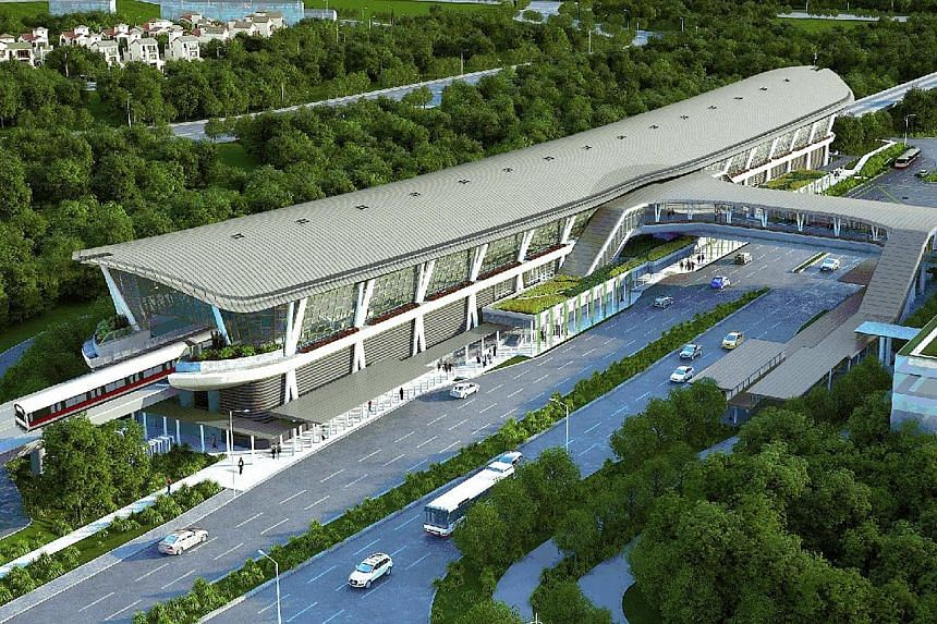 An artist's impression of Canberra MRT station on the North-South Line. It is expected to be completed in 2019. The station is only the second after Dover to be built over an MRT line already in operation.