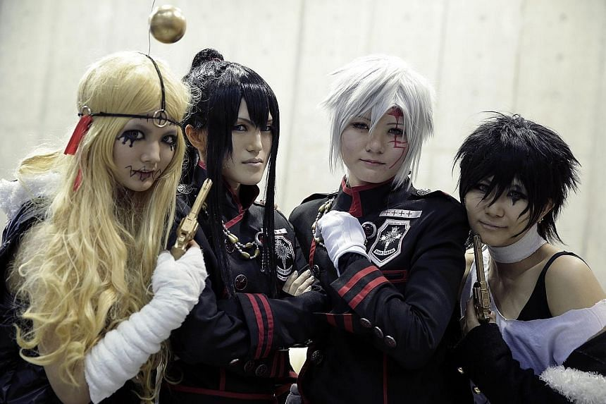 Japanese cosplayers at the AnimeJapan 2016 convention in Tokyo yesterday. The animation festival is one of the biggest anime events in Japan, attracting not only fans but also business visitors, with the aim of developing the Japanese animation and a