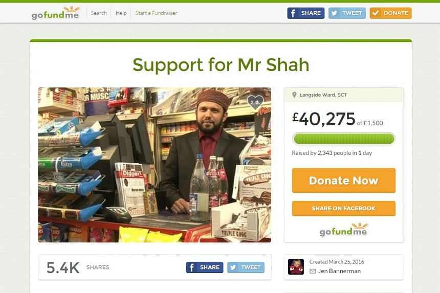 A GoFundMe page set up by customers of murdered shopkeeper Asad Shah to try to raise funds in a show of support for his family.