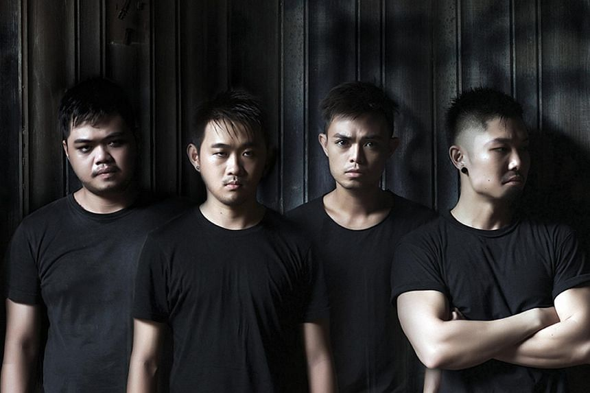 (From left) Actors Chong Woon Yong, Stanley Seah, Juni Goh and Mitchell Fang make up the four-man cast of the play, Grind.
