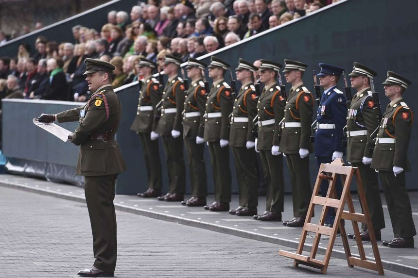 The Proclamation of the Republic is read out aloud during the commemoration of the 100th anniversary of the Irish Easter Rising in Dublin, Ireland on March 27, 2016.
