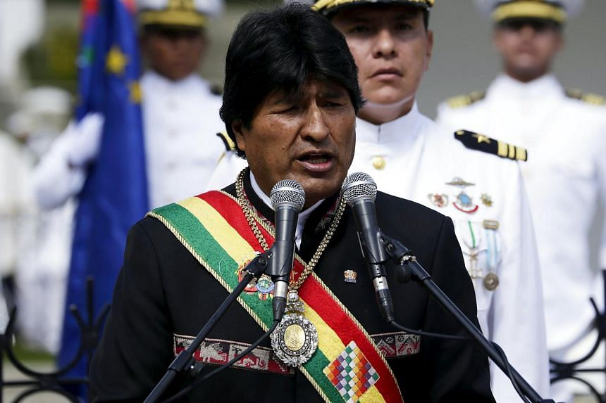 Bolivia's President Evo Morales speaks during a ceremony commemorating the Dia del Mar (Day of the Sea) in La Paz, on March 23, 2016.