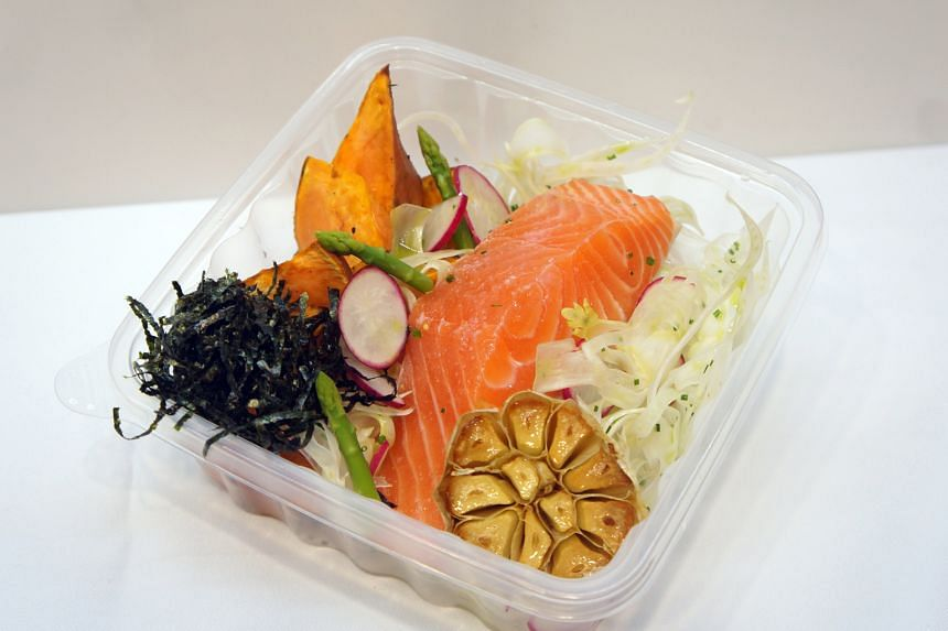 Super Simple offers customisable meal-boxes (from $8.90) with a choice of protein, complex carbohydrates and supplements. Options include salmon (above), asparagus, pumpkin, sweet potatoes and tomatoes.