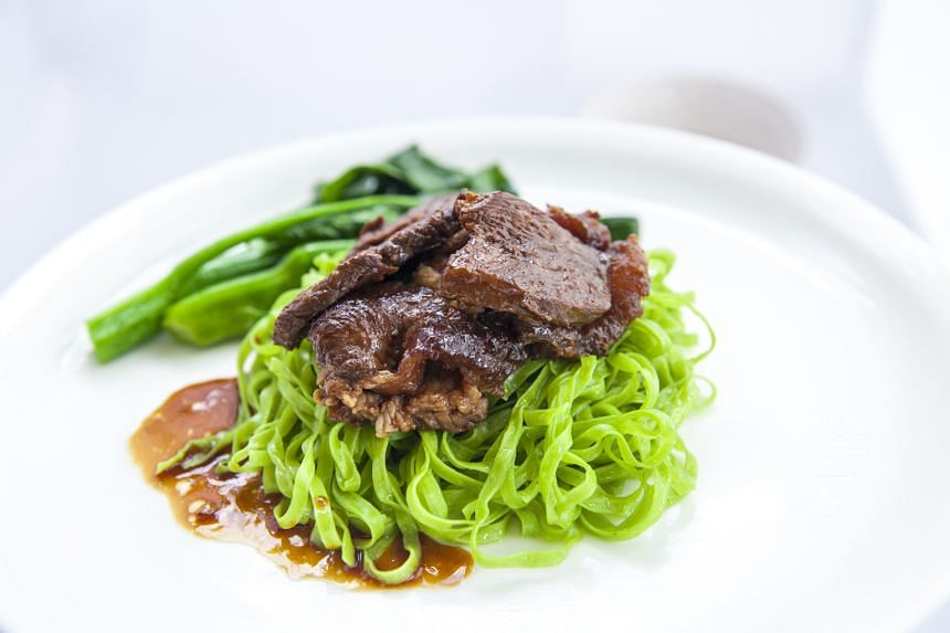 Ms Kelly Wong will serve her beef brisket spinach noodles (above).