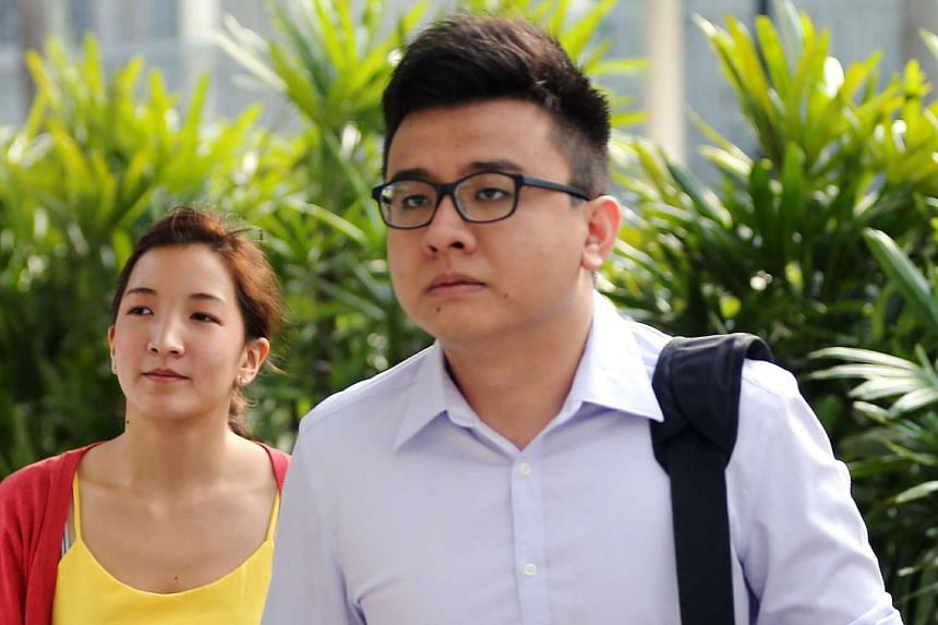 Yang Kaiheng (right) and his wife Ai Takagi arriving at the State Courts on March 28, 2016.