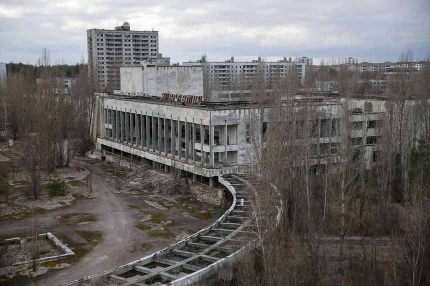 A view of the abandoned city of Pripyat is seen near the Chernobyl nuclear power plant in Ukraine on March 23, 2016.
