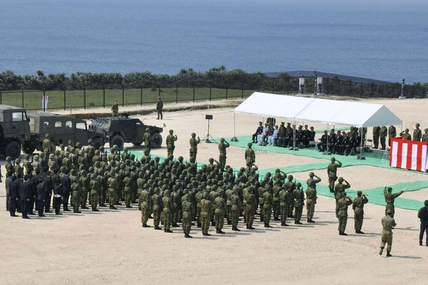 Members of Japan's Self Defence Force on the island of Yonaguni in the Okinawa prefecture on March 28, 2016.