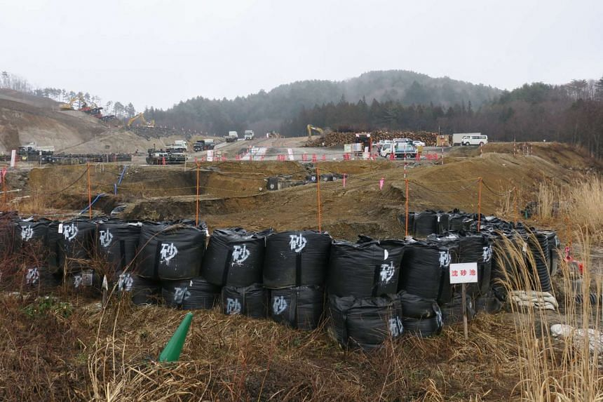 In the background, workers in Iitate village go about their daily routine of removing the layer of irradiated topsoil, which are then placed in stacks of black bags.