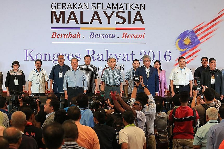Dr Mahathir flanked by sidelined Umno leaders, opposition politicians and political activists at the congress billed as Gerakan Selamatkan Malaysia, or the Save Malaysia Movement. The group will go around Malaysia till June to collect signatures from