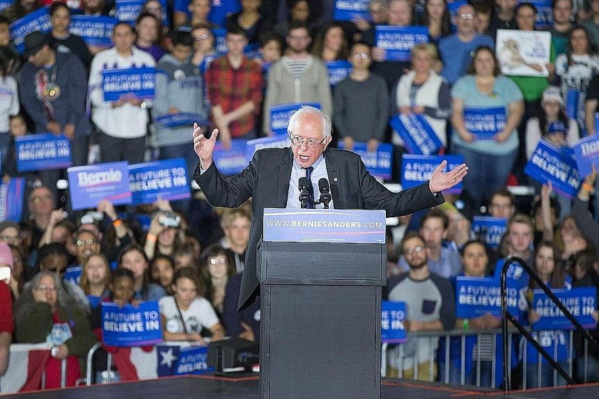 "Senator Sanders speaking at a campaign rally on Saturday in Madison, Wisconsin. He assured supporters that his victories had cleared a viable path to the nomination, saying he was ""making significant inroads into Secretary Clinton's lead""."