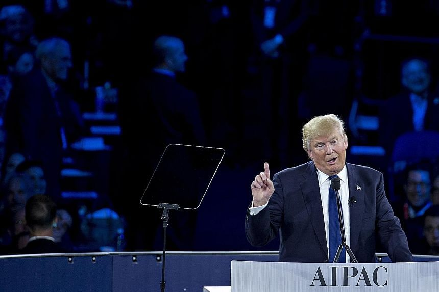 Mr Trump at the American Israel Public Affairs Committee policy conference in Washington, DC, last week. He has said he is willing to reconsider traditional US alliances if partners are not willing to pay, in cash or troop commitments, for the presen