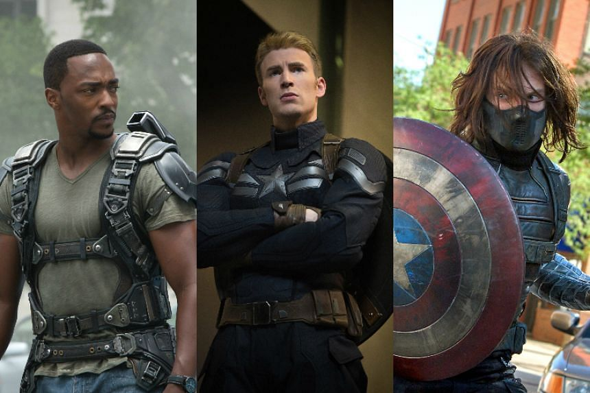 Anthony Mackie (left), Chris Evans (centre) and Sebastian Stan will be in Singapore in April to promote their new movie Captain America: Civil War.