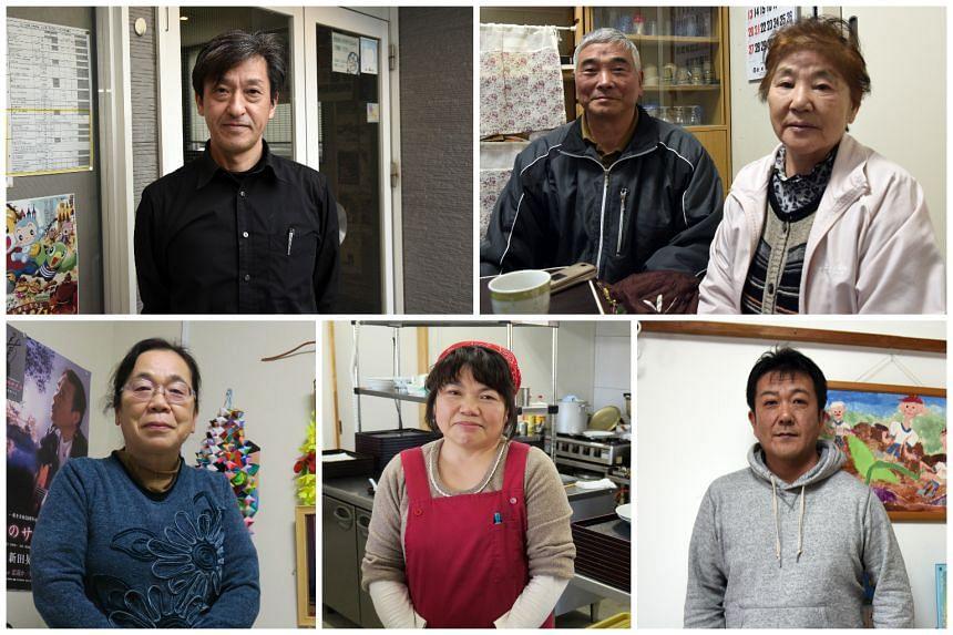 (From top left, clockwise) Mr Yasuhiro Abe, Mr Hideji Suzuki and his wife Mrs Toshiko Suzuki, Mr Hiroshi Ueno, Ms Satou Miyuki and Ms Mitsue Masukura.